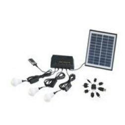 zonne adapter met accu en 3 led lampen
